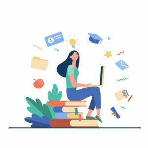 femme qui est assise sur une pile de livre