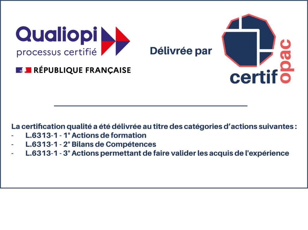 Logo certifié qualiopi formation bilans et VAE