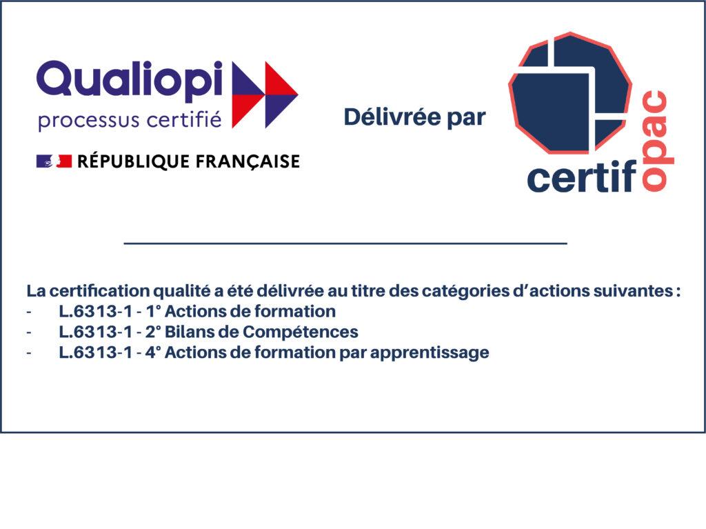 Logo certifié qualiopi formation bilan de compétence et CFA