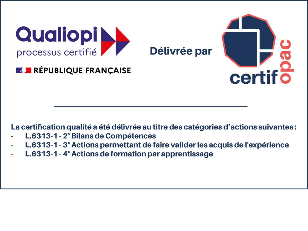 Logo certifié qualiopi bilan de compétence CFA VAE